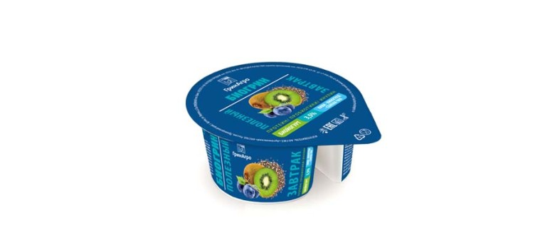 Биойогурт «Супер Фуд» обогащенный молочным белком с пребиотиком и наполнителем «Киви-Виноград-Чиа»