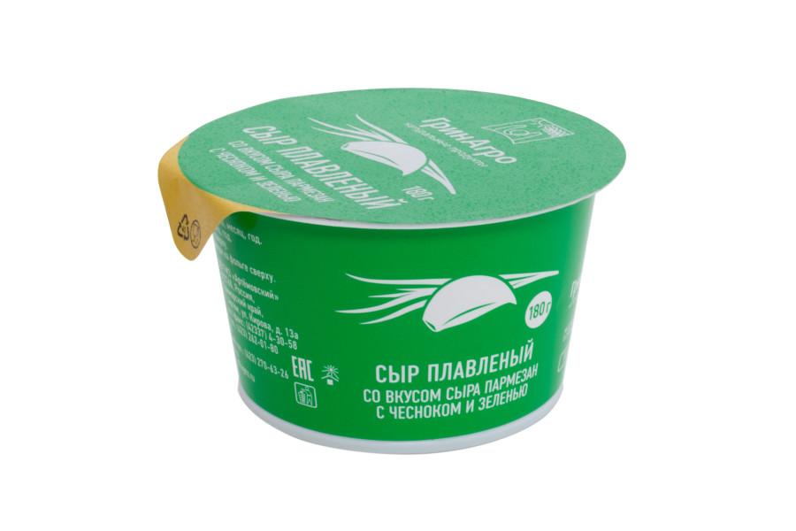 Сыр плавленый «со вкусом сыра пармезан с чесноком и зеленью»