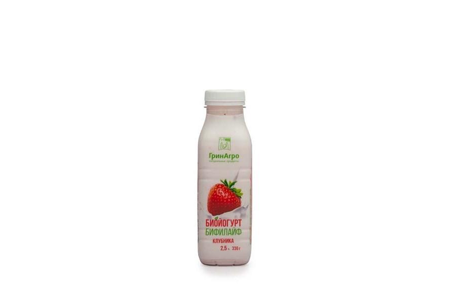 Биойогурт «Бифилайф» питьевой с клубникой 2,5%